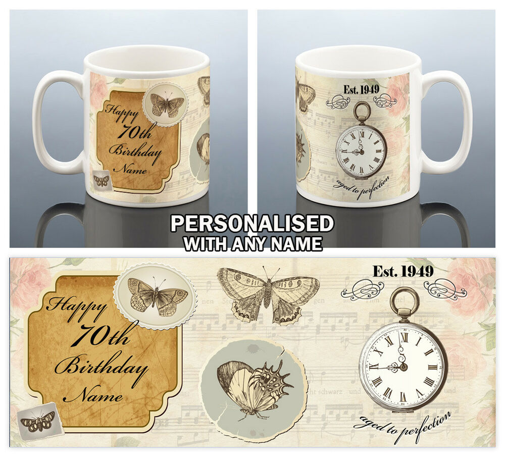 Details About 70th BIRTHDAY MUG 1949 Personalised Cup BUTTERFLY 70 Gift For Her Women Mum Nan