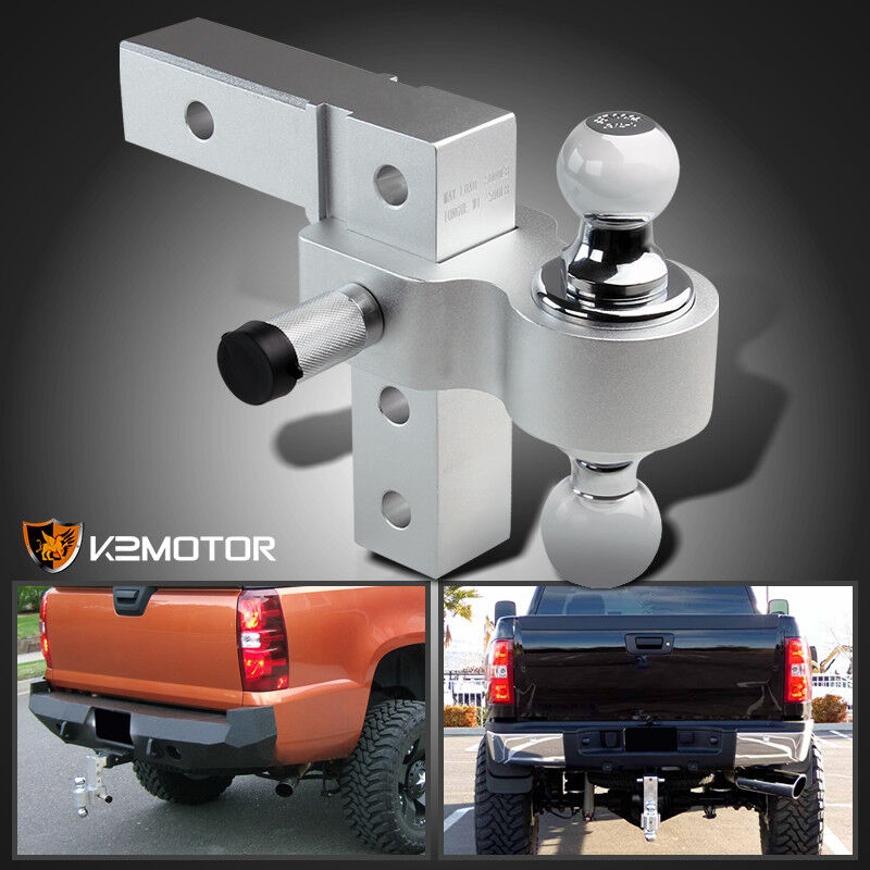 """Adjustable Tow Hitch >> Fit 2"""" Trailer Receiver Truck RV 6"""" Drop Adjustable Aluminum Hitch 