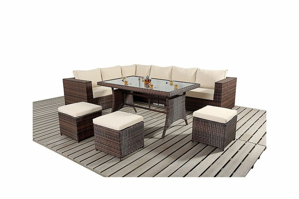 9 seater rattan garden furniture sofa dining table set conservatory outdoor ebay. Black Bedroom Furniture Sets. Home Design Ideas