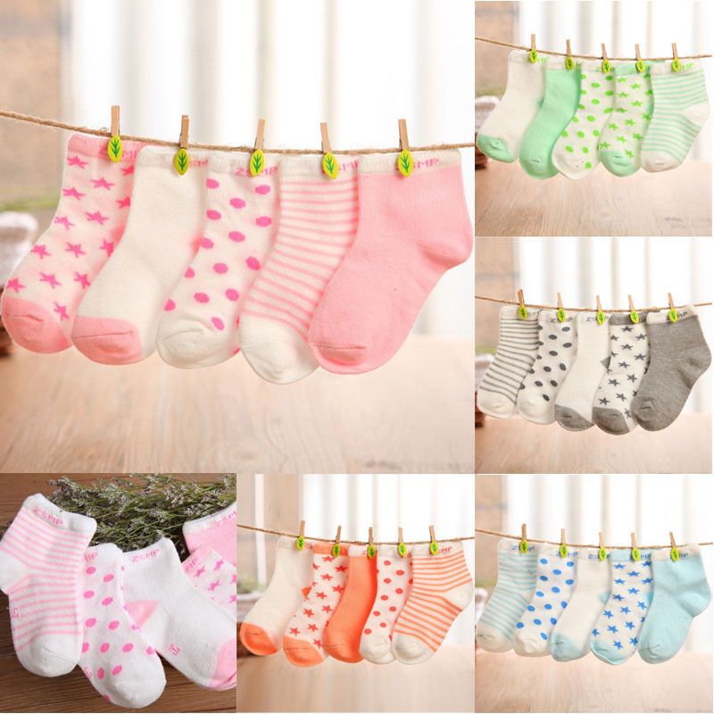 5 Pairs Baby Boy Girl Cartoon Cotton Socks NewBorn Infant