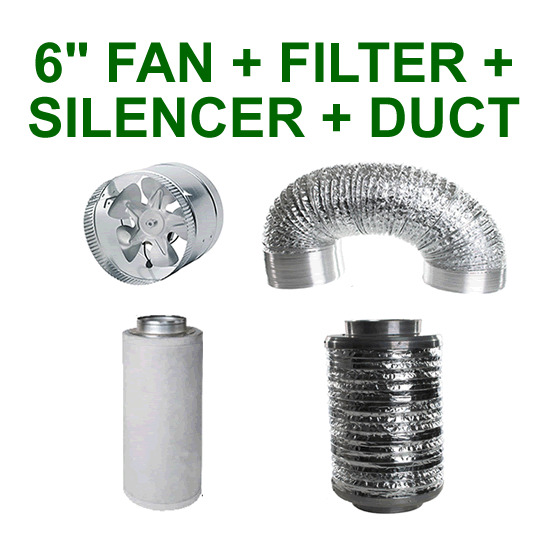 6 Duct Fan Extractor : Quot mm combo extractor fan carbon filter silencer