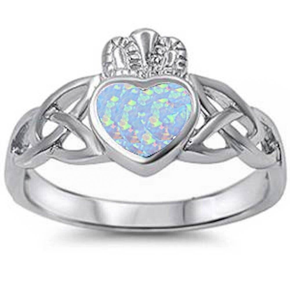 Claddagh Ring White Gold Opal