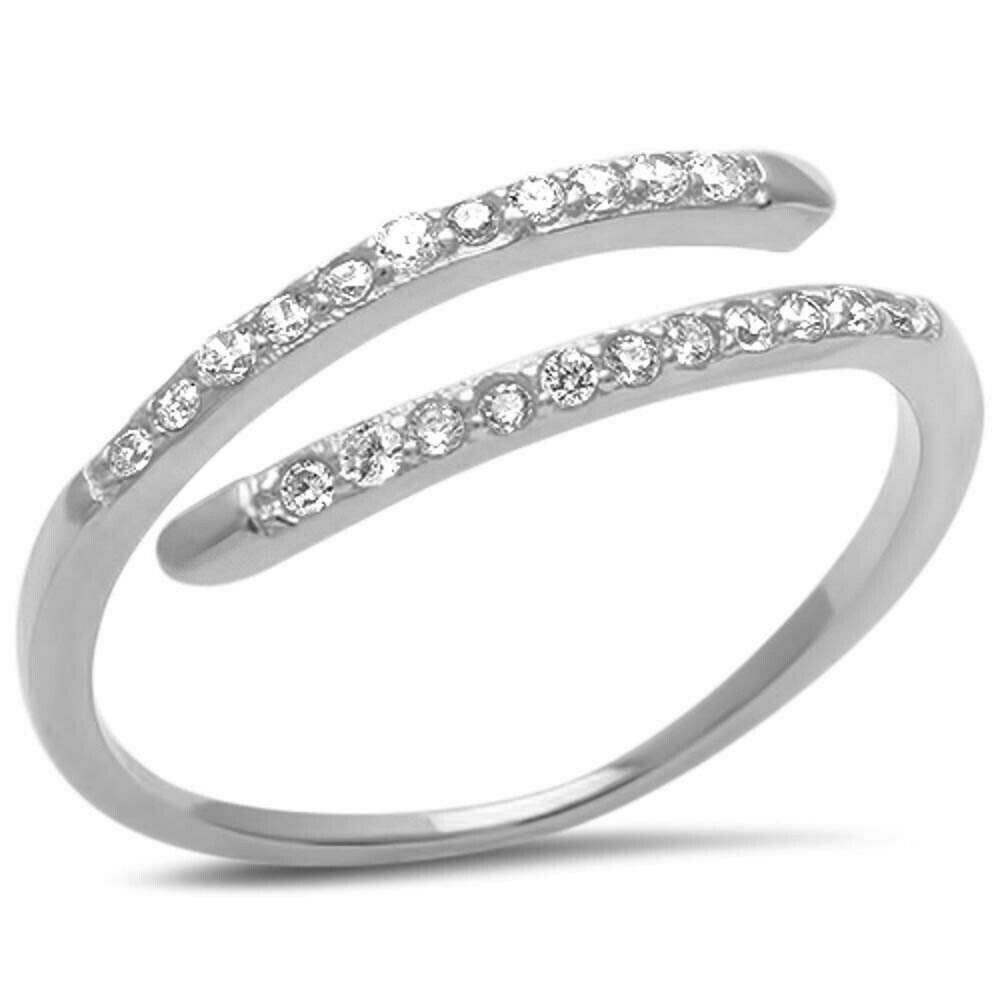bypass wrap midi dainty engagement wedding ring sterling. Black Bedroom Furniture Sets. Home Design Ideas