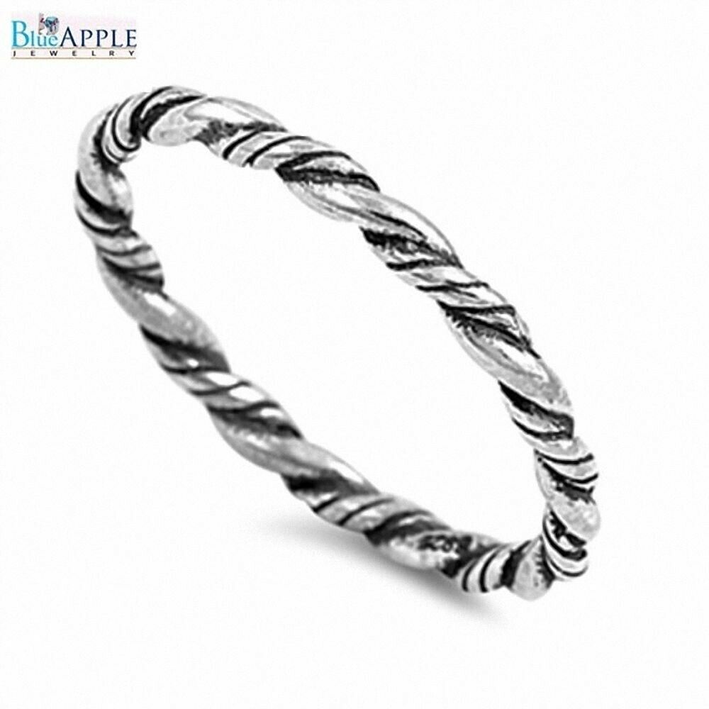 Rope Design Bands: 2mm Twisted Rope Wedding Band Ring Solid 925 Sterling