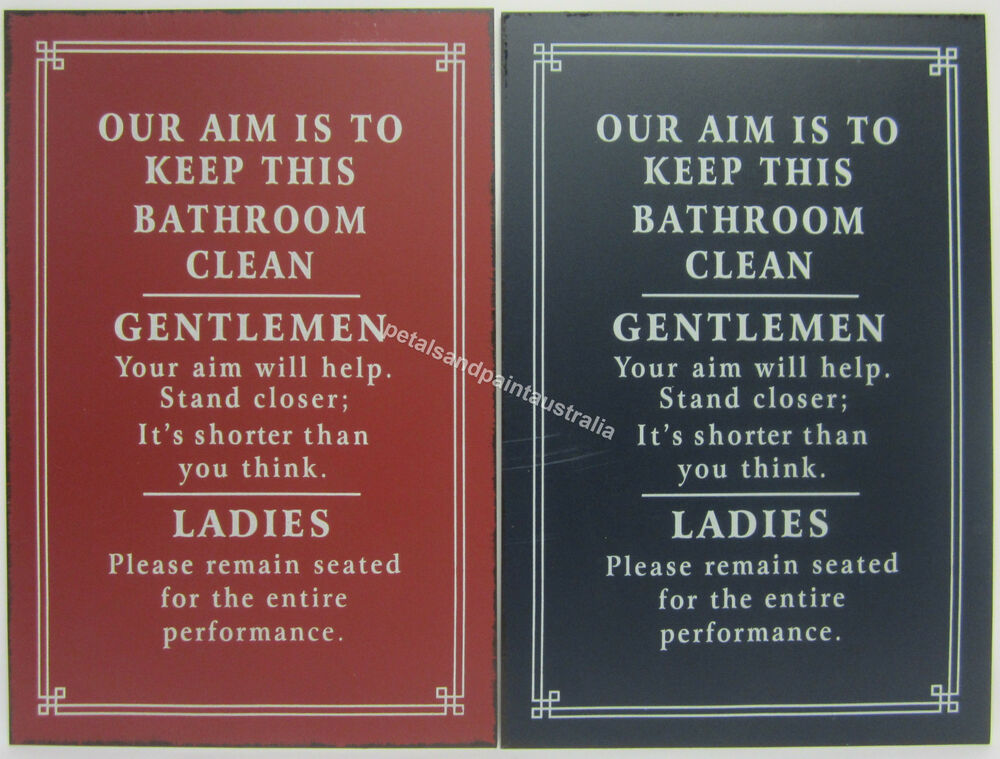 New Novelty Funny Tin Wall Sign Our Aim Is To Keep This Bathroom Clean 2 Styles Ebay