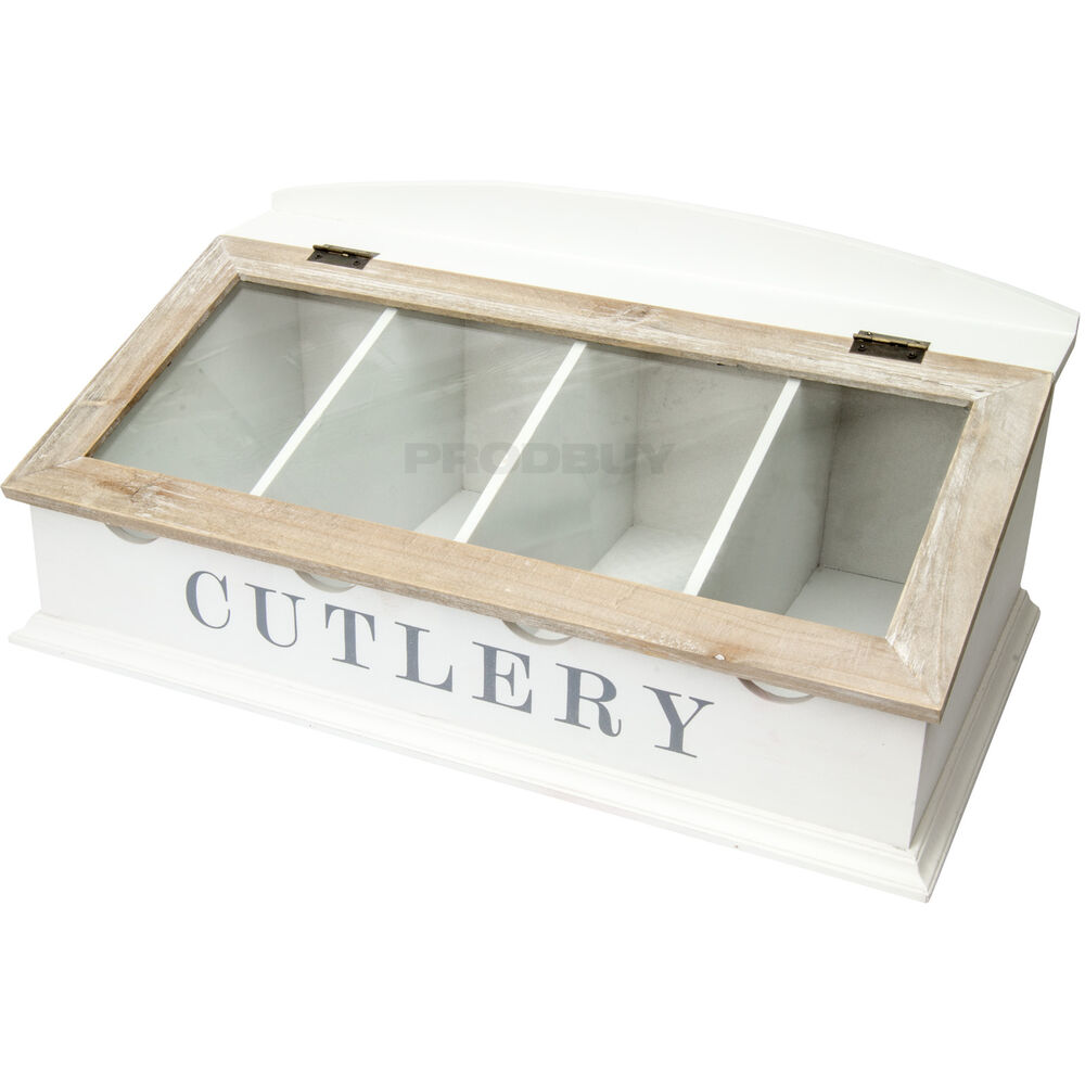 Large vintage glass lid white wood cutlery storage caddy for Cutlery storage with lid