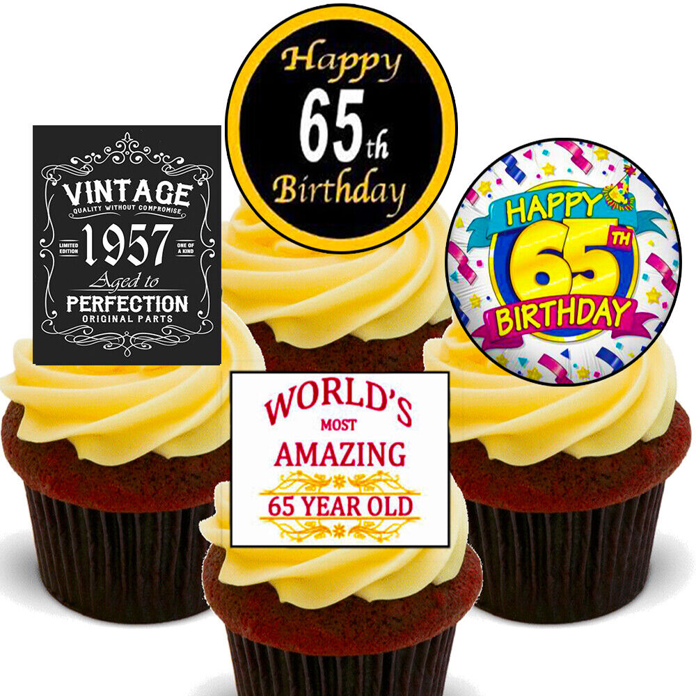 65th Birthday Male Edible Cupcake Toppers Standup Fairy Cake Decorations Men 65 7426765181434