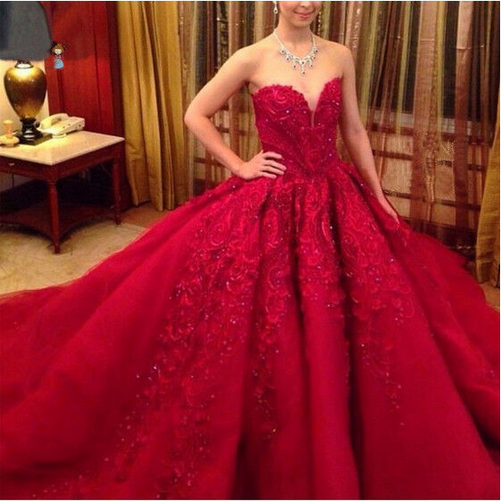 Red And White Ball Gown Wedding Dress: Vintage Gothic Red Appliques Ball Gown Wedding Dress