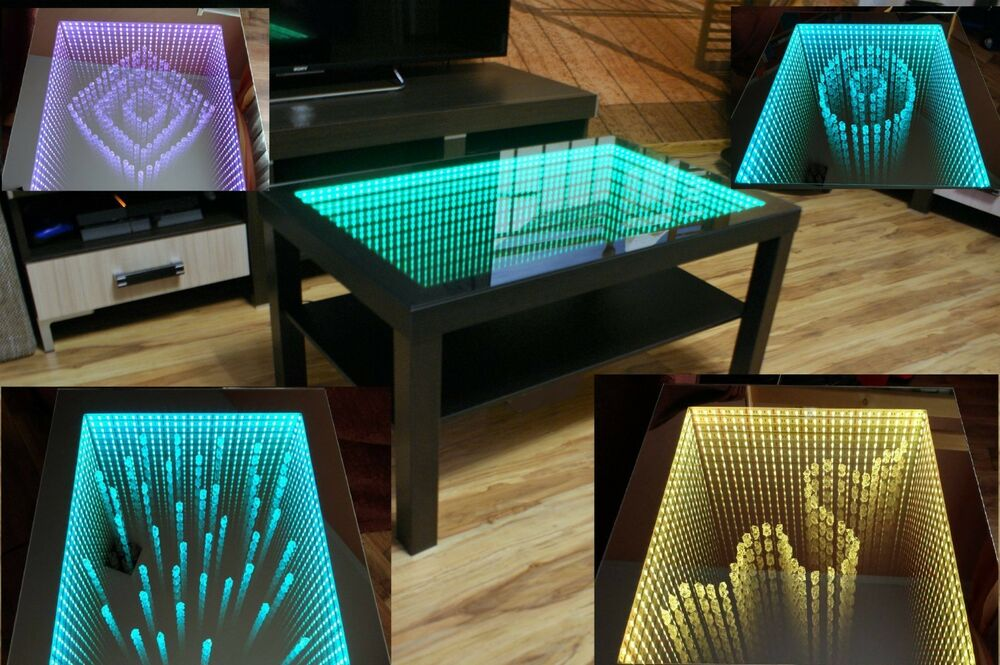 black table led 3d coffee table illuminated infinity mirror effect remote rf ebay. Black Bedroom Furniture Sets. Home Design Ideas