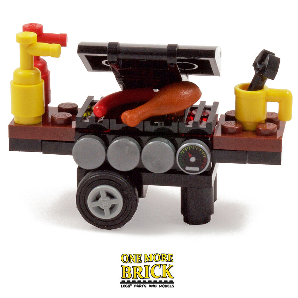 Lego Bbq Barbecue Grill Oven Minifigure Scale Bbq With Food Drink
