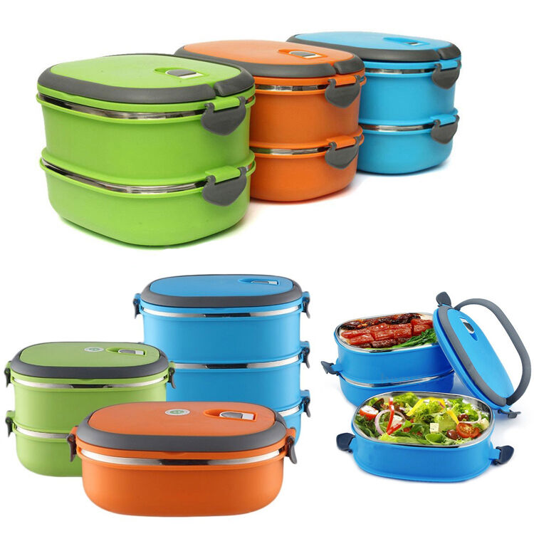 1 2 3 layer stainless steel insulated bento food storage container lunch box hot ebay. Black Bedroom Furniture Sets. Home Design Ideas