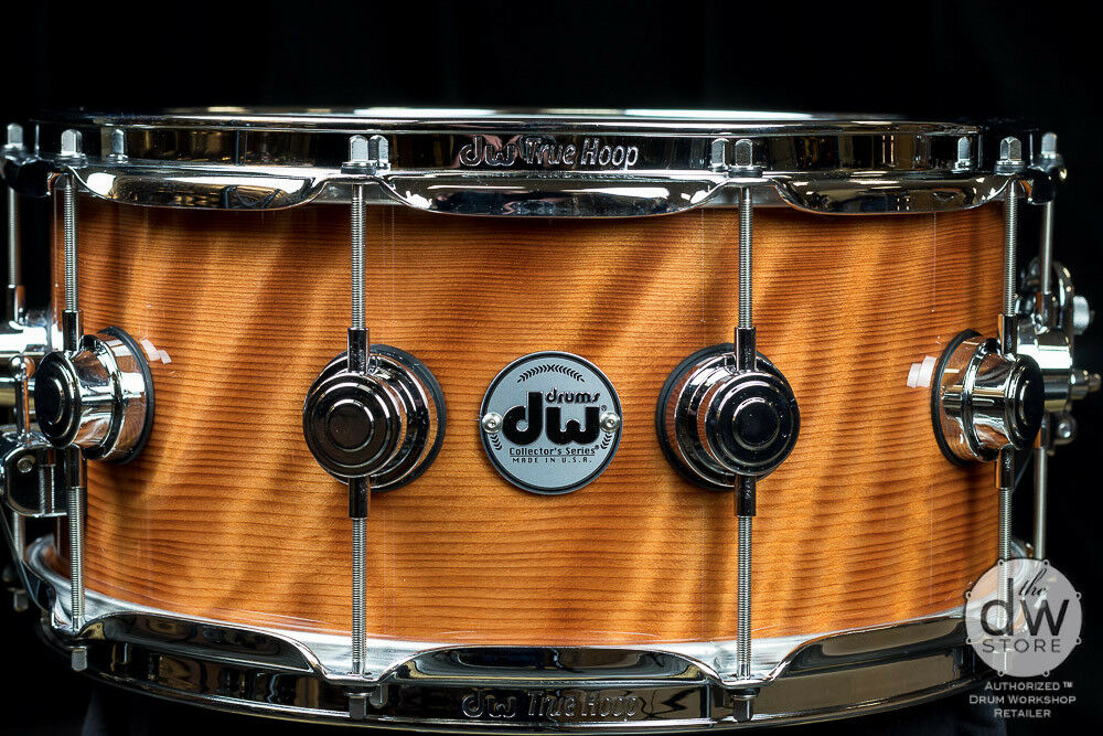 DW DRUMS EXOTIC REDWOOD CURL NATURAL LACQUER W CHROME HW