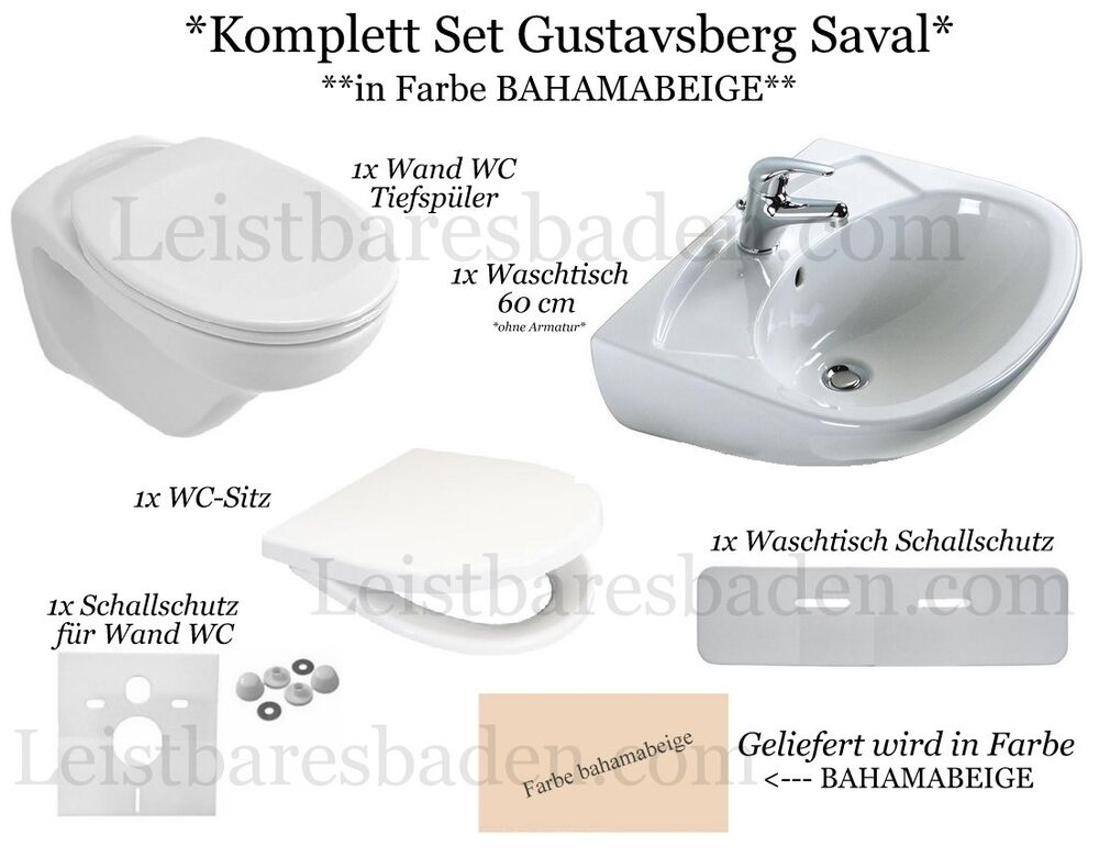 komplett set gustavsberg saval wand wc waschtisch 60 cm farbe bahamabeige ebay. Black Bedroom Furniture Sets. Home Design Ideas