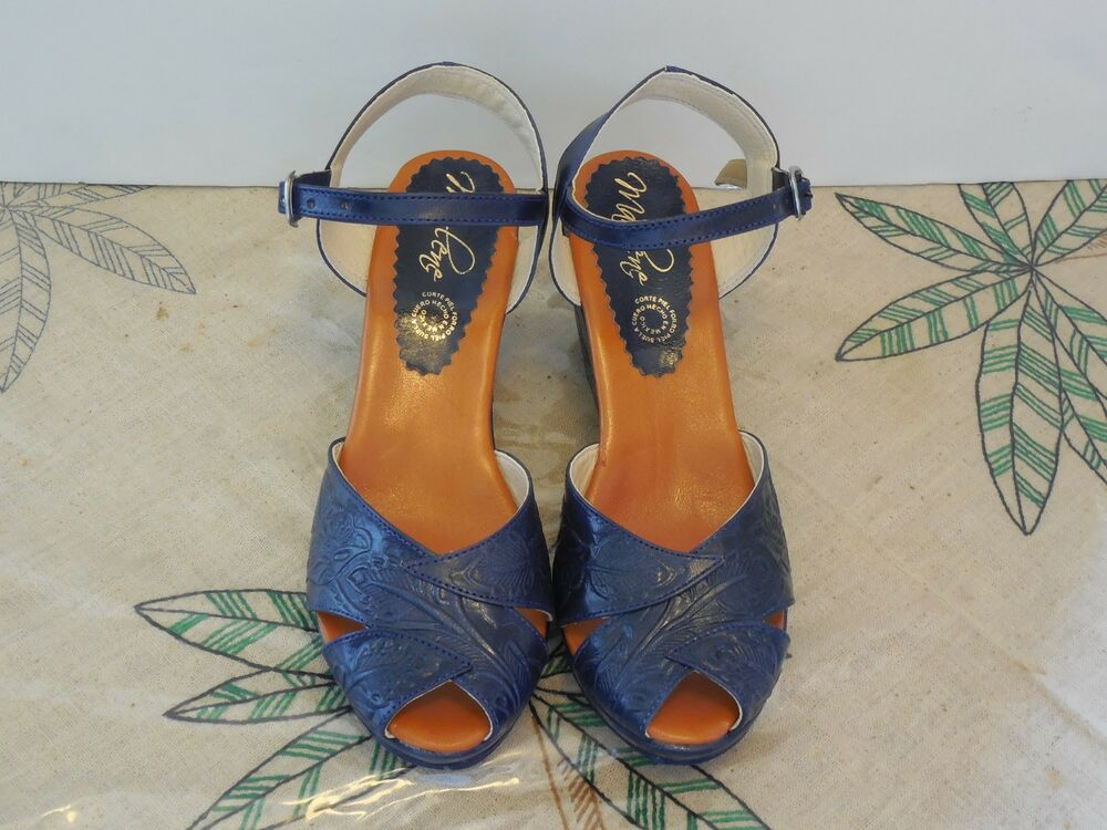 New Colors Vtg Style Mexican Tooled Leather Shoes Wedge