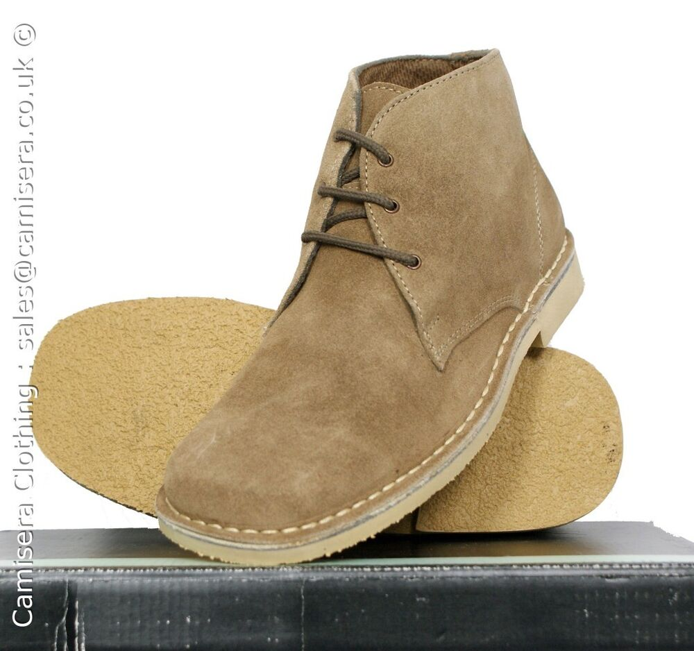 Roamers 3 Eyelet Real Suede Leather Mens Desert Boots Sand