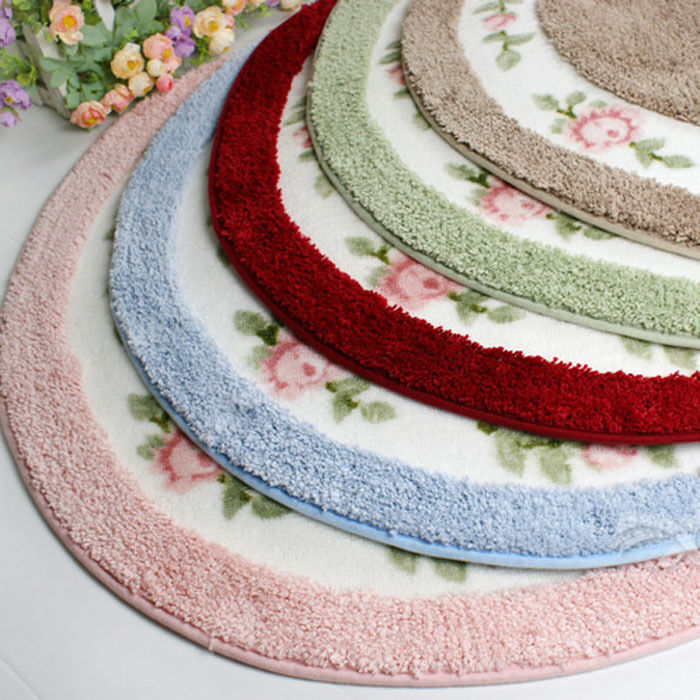 Elegant Round Rug Sweet Pink Rose Print Korean Mat Retro