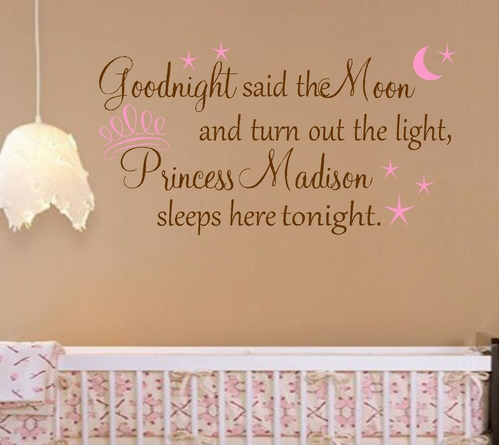 Princess personalized nursery vinyl wall decal girls for Decoration quotes sayings