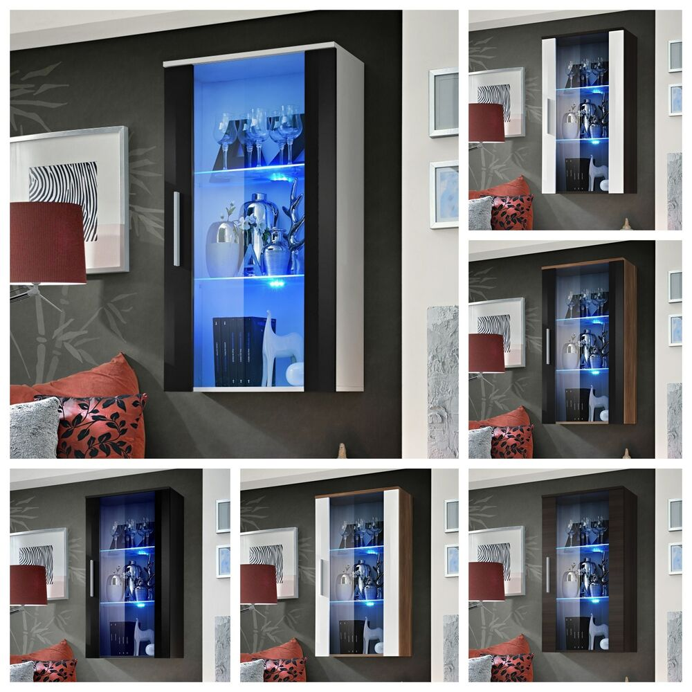 wohnzimmer vitrine glasvitrine schaukasten glasregal regal neo ii hochglanz led ebay. Black Bedroom Furniture Sets. Home Design Ideas