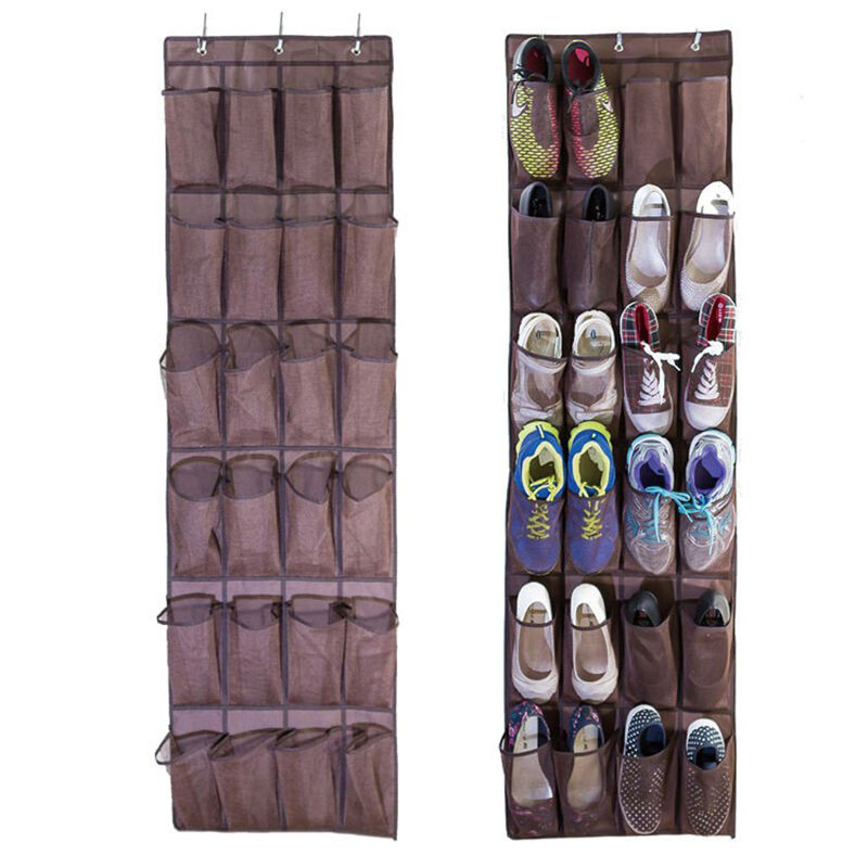 24 pockages over the door hanging shoe organizer mesh for Door shoe organizer