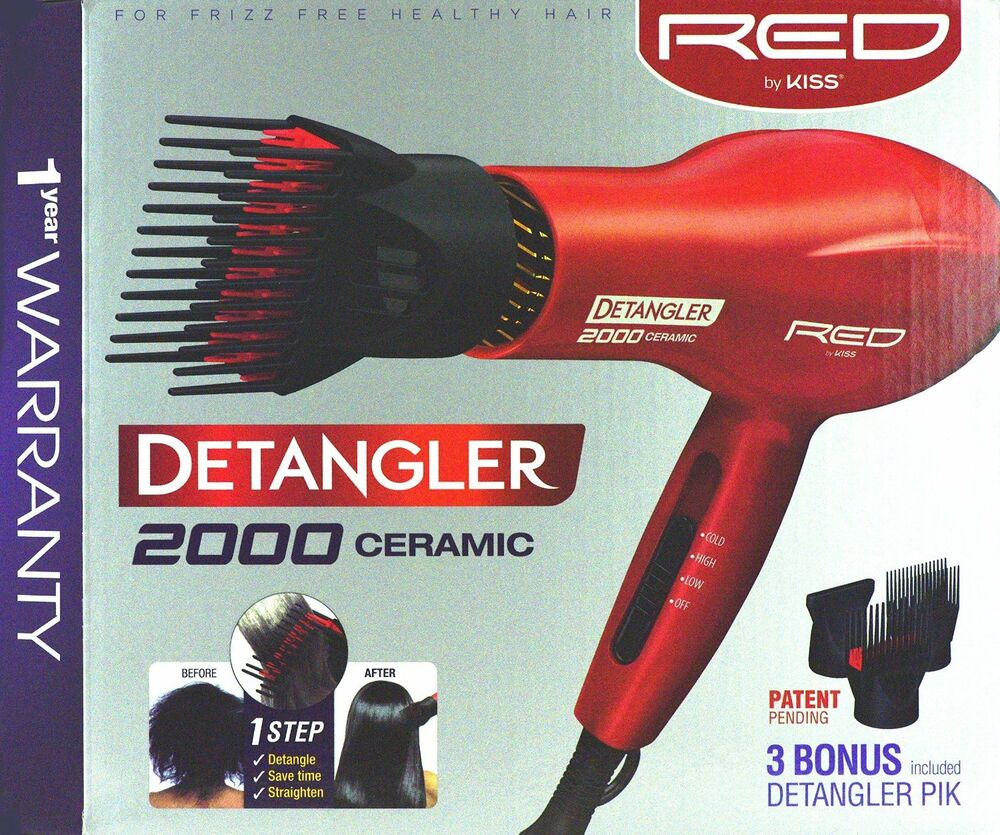 Red By Kiss 2000 Ceramic Detangler Hair Blow Dryer Double