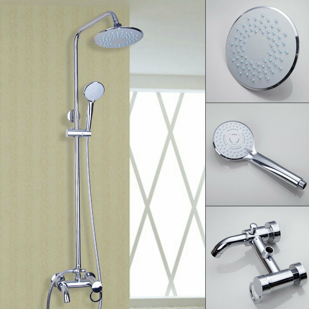 Bathroom Wall Mounted 8 Rain Shower Faucet Set Bathtub Mixer Tap Chrome New Ebay