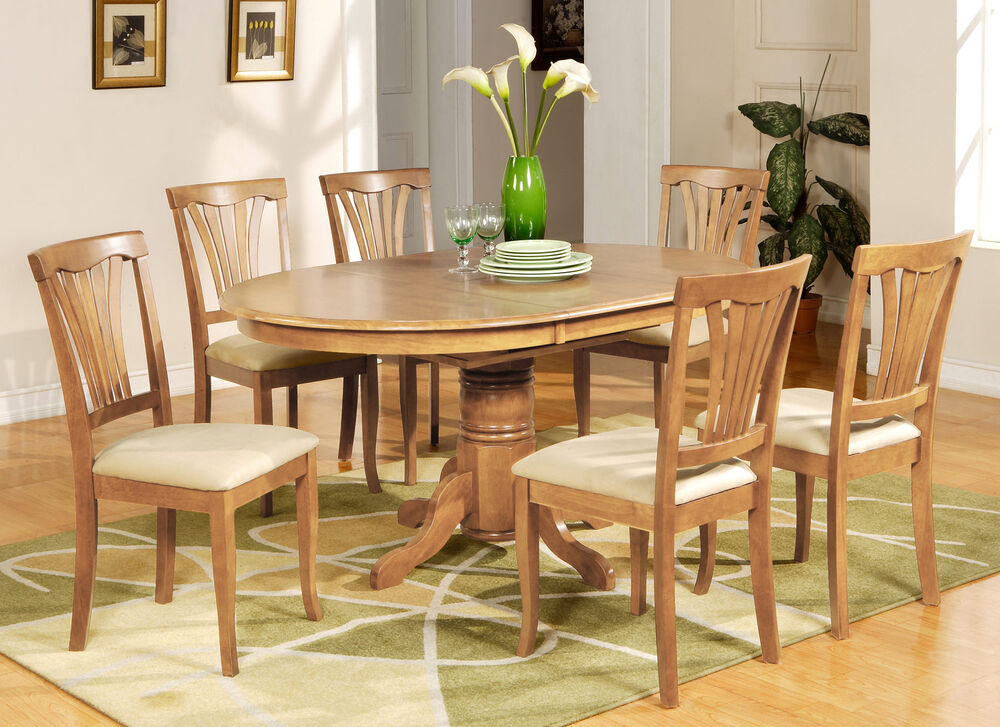 Oak Dinette Chairs ~ Piece dining table set oval dinette with leaf and
