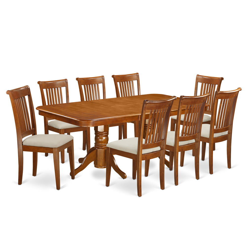9 piece dining room table set table with a leaf and 8 for Dining room furniture 9 piece
