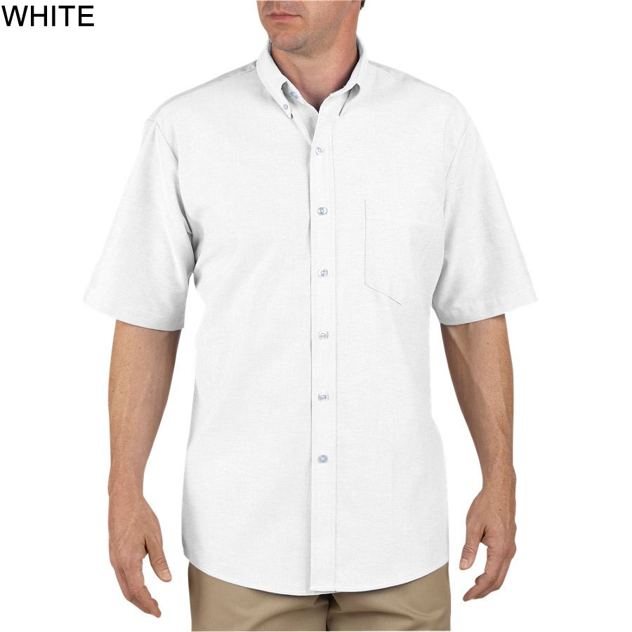 Dickies white short sleeve button down oxford shirts size for White button down oxford shirt