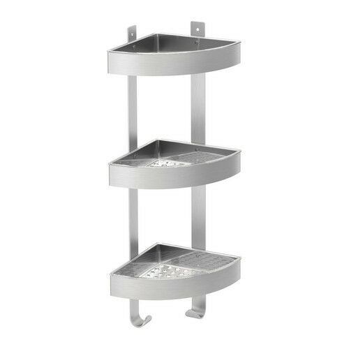Ikea shower grundtal corner wall shelf unit stainless - Bathroom shelves stainless steel ...