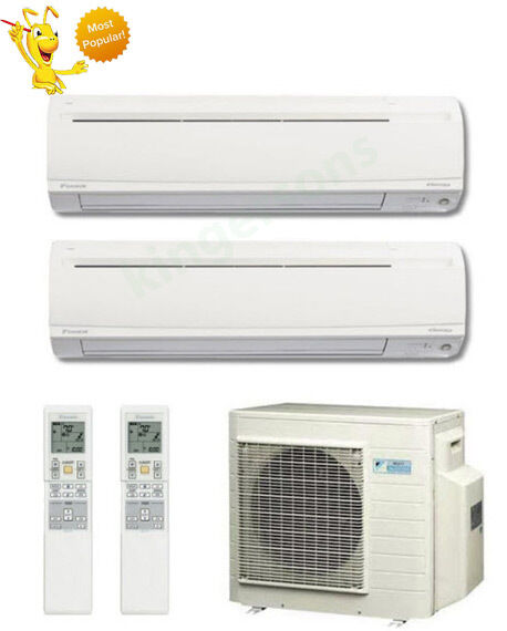 9000 18000 btu daikin dual zone ductless wall mount heat pump air conditioner ebay. Black Bedroom Furniture Sets. Home Design Ideas