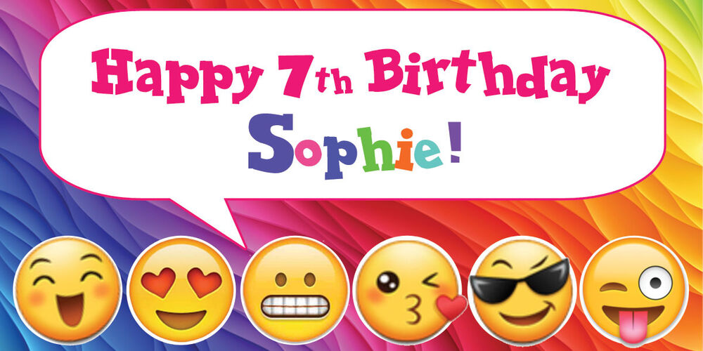 Details About 18x36 Rainbow Emoji Theme Personalized Birthday Party Banner
