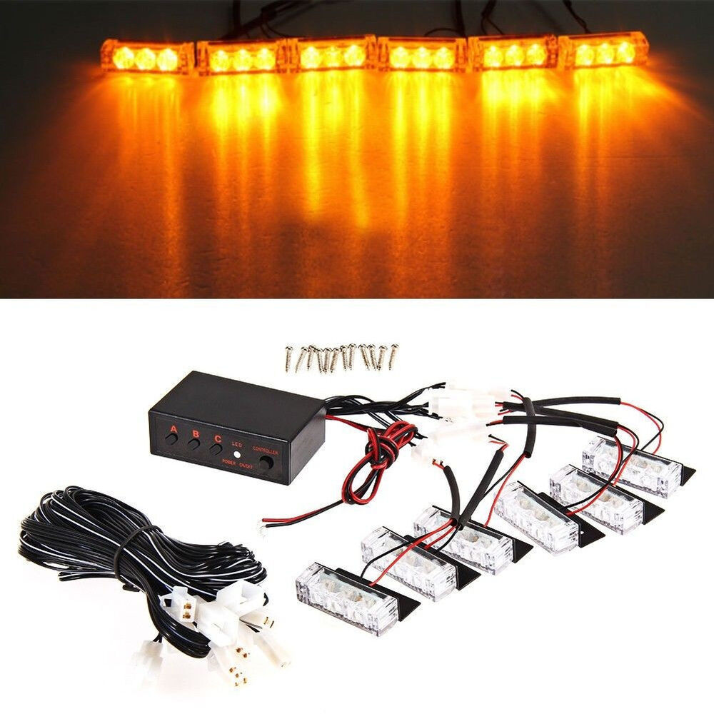 12V Amber 6x3 Led Car Truck Emergency Strobe Police