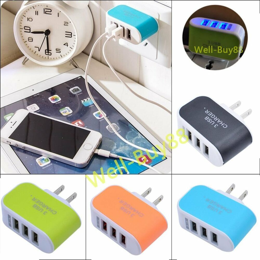 3 fach multi usb ladeger t netzteil wand adapter universal f r handy tablet ebay. Black Bedroom Furniture Sets. Home Design Ideas