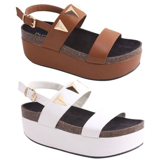 new s strappy flat high wedge platform sandal large