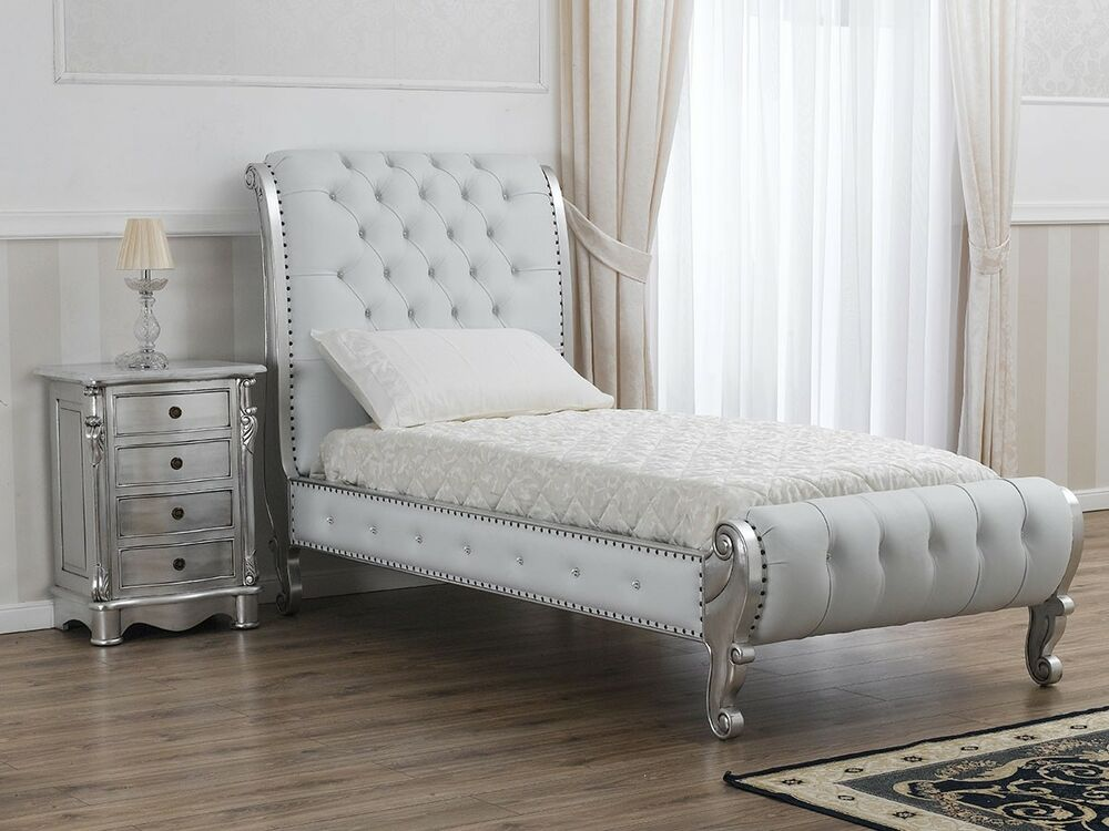 einzelbett moderner barock silberblatt ko leder wei swarovski ebay. Black Bedroom Furniture Sets. Home Design Ideas