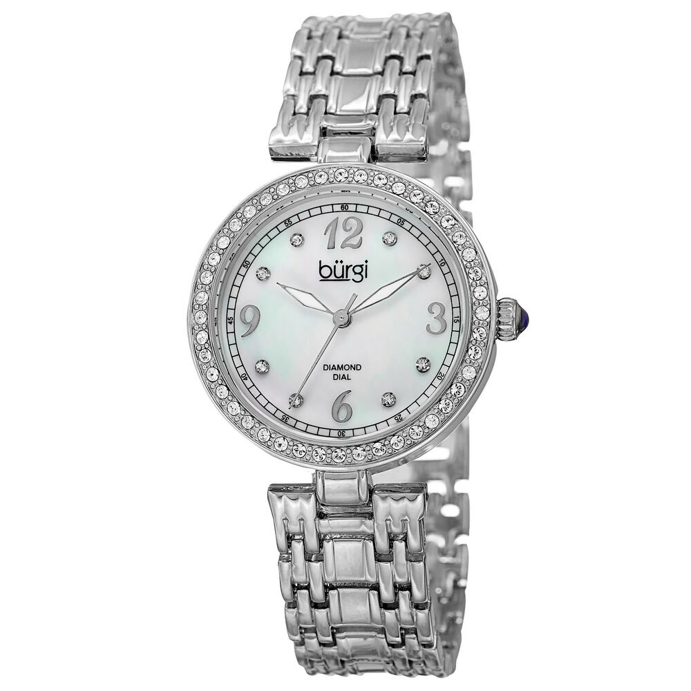 Women 39 s burgi bur136ss mother of pearl swarovski accented crystal bezel watch ebay for Crystal watches