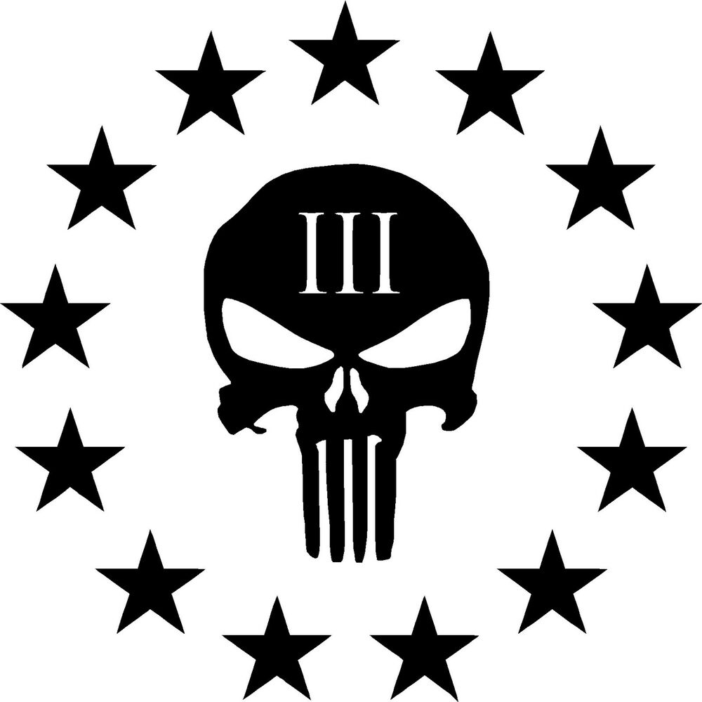 Three Percenter Punisher Skull 3 Sticker Ar15 Nra Oath