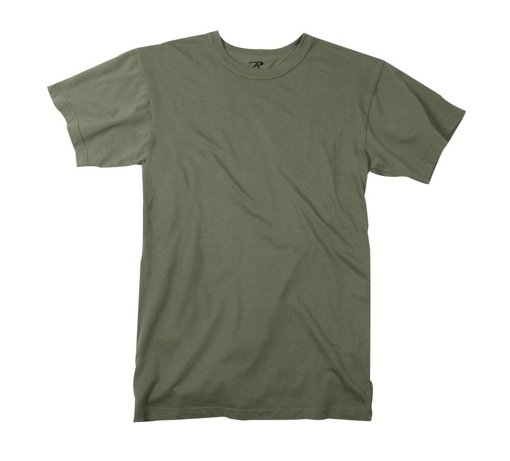 Mens army t shirt solid od green olive drab rothco size s for Size 5x mens dress shirts