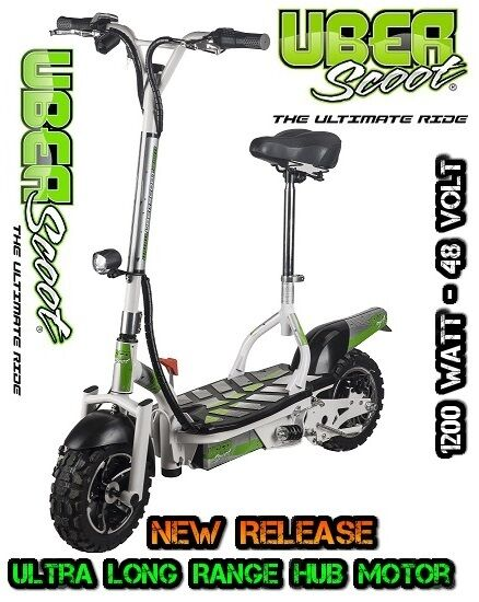 Uberscoot 48v 1200w Brushless Electric Scooter White Off