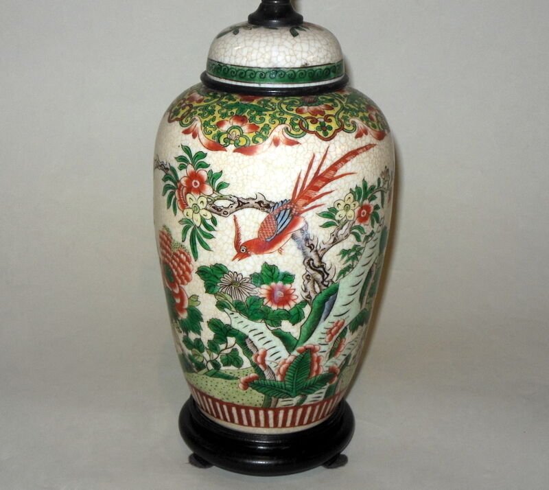 Antique Asian Chinese Famille Verte Qing Birds Flowers