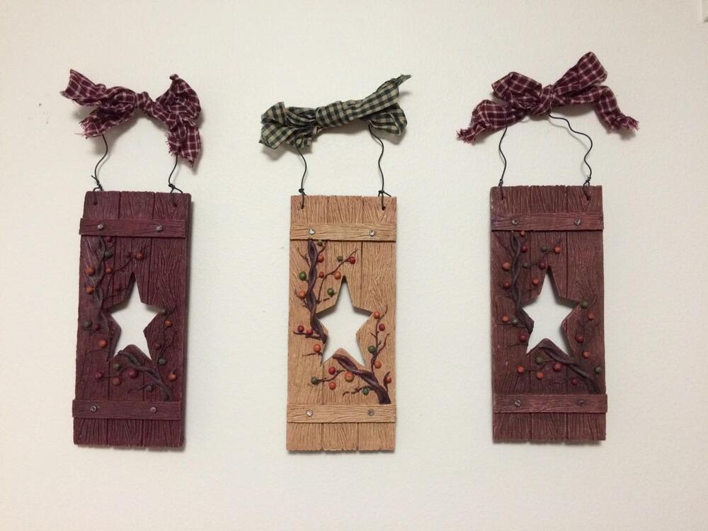 Star Wall Decor Ideas: Primitive Country Star Vine Berry Folk Art Plaid Bow