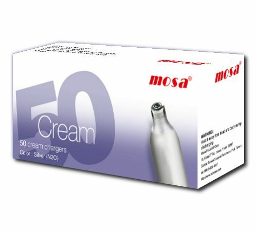 600 X MOSA CREAM CHARGERS. Quality N2O. Silver Steel