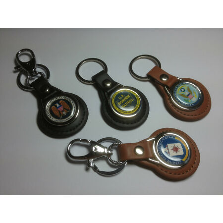 img-U.S. GOVERNMENT AGENCY LEATHER KEY RINGS IN BLACK OR TAN + FREE PHONE STICKER