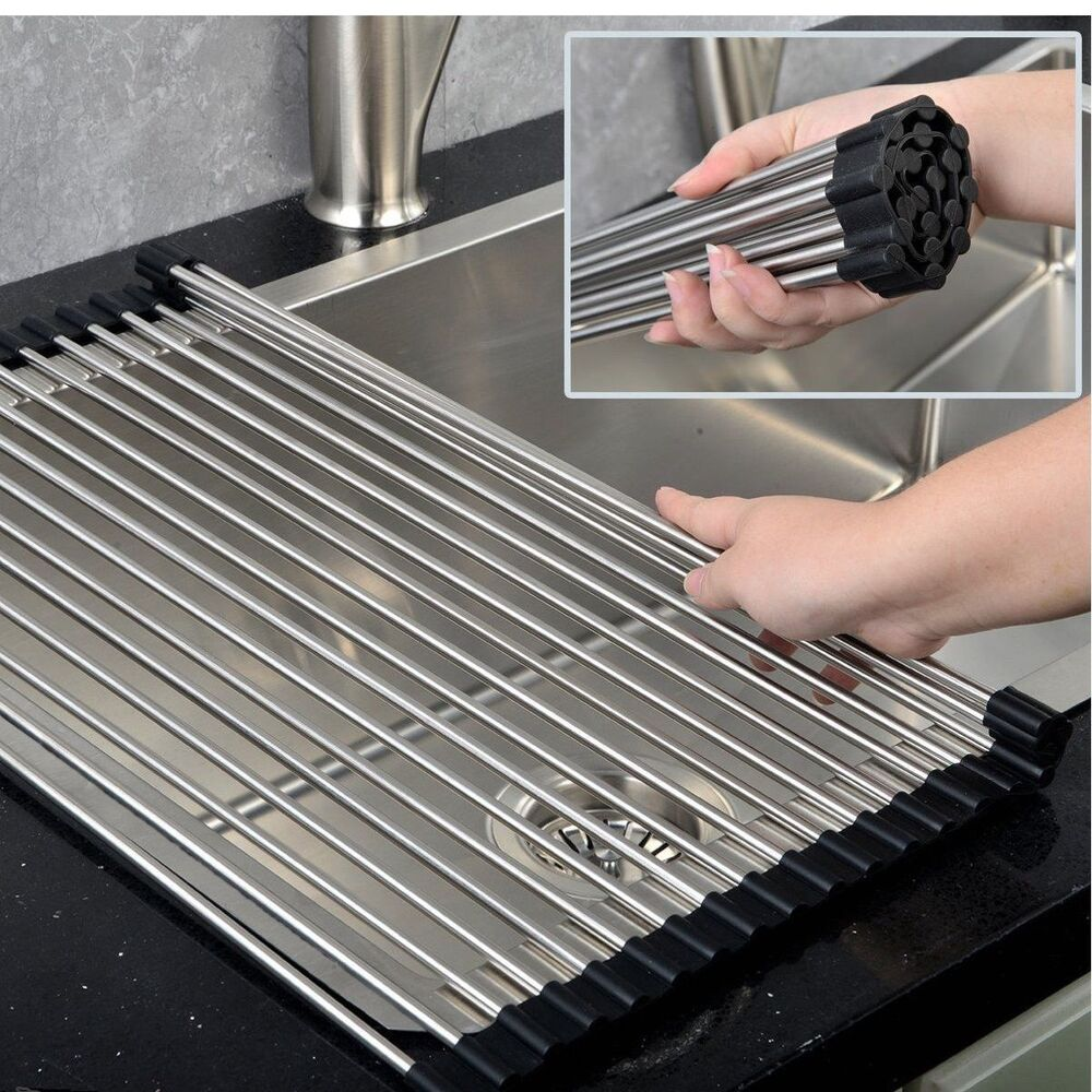 Kitchen Sink Drainer Organiser Cutlery Roll Out Up Mat