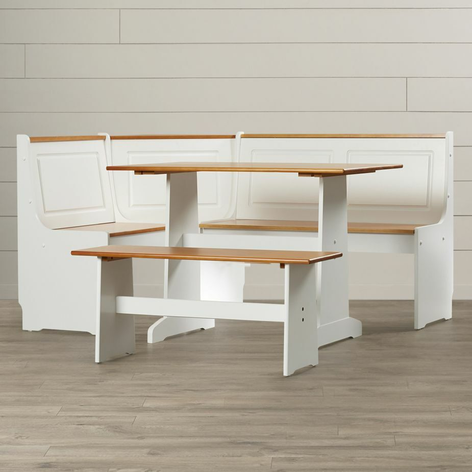 Breakfast nook kitchen dining set with storage dinette table bench corner booth ebay Corner kitchen bench