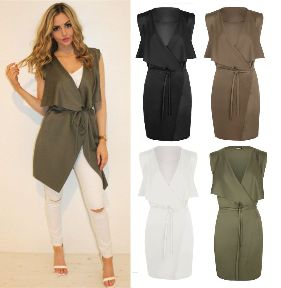 Womens Ladies Jacket Celeb Inspire Sleeveless Waterfall Belted ...