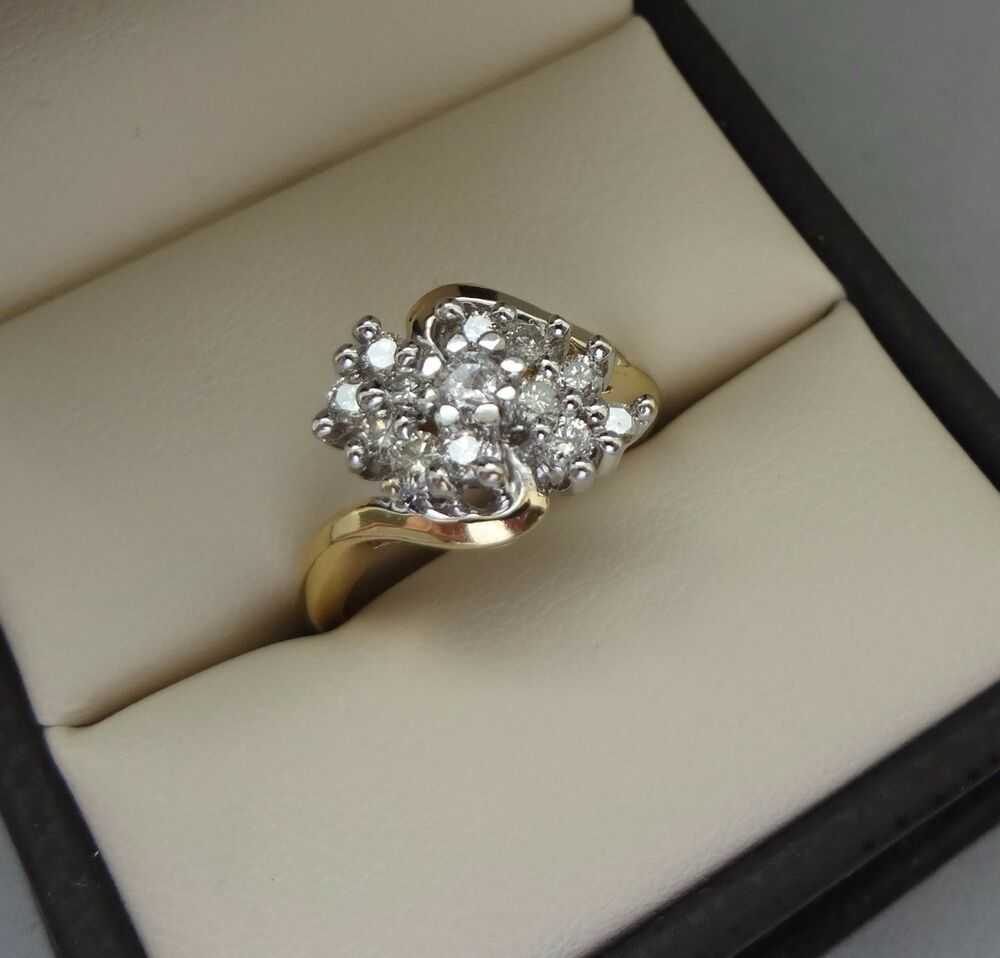 Lovely 14k yellow gold 38 tcw round diamond cluster for Waterfall design ring