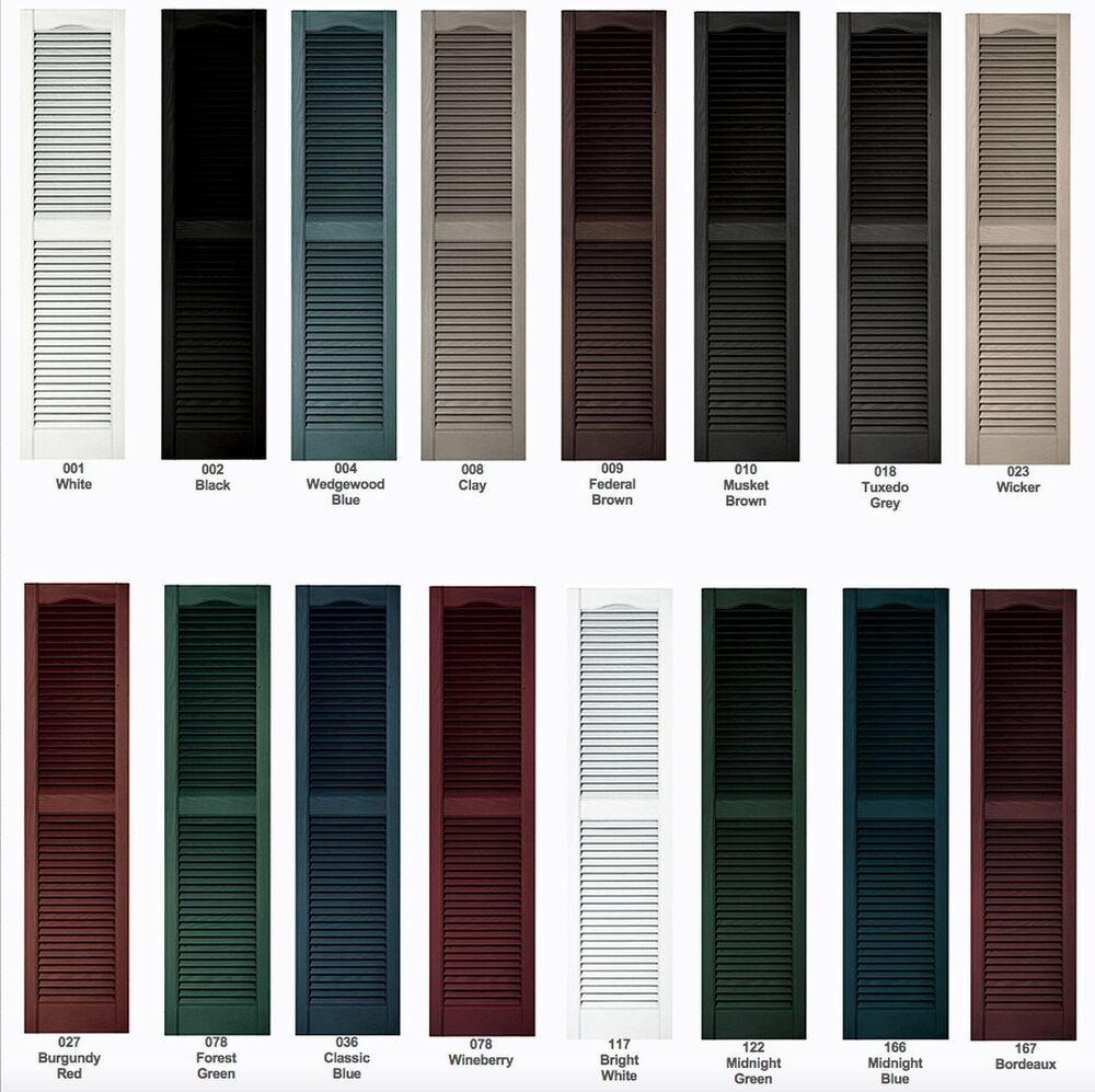 """Vinyl Shutters, Cathedral Louver Exterior, 52""""- 60"""