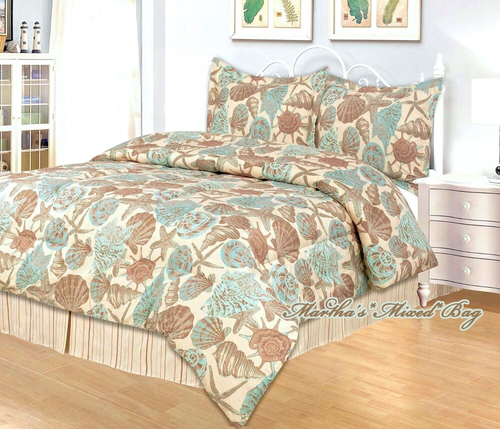 Nautical Beachy Bedding: 4-pc Comforter Set KING Or QUEEN Size Teal SEASHELL