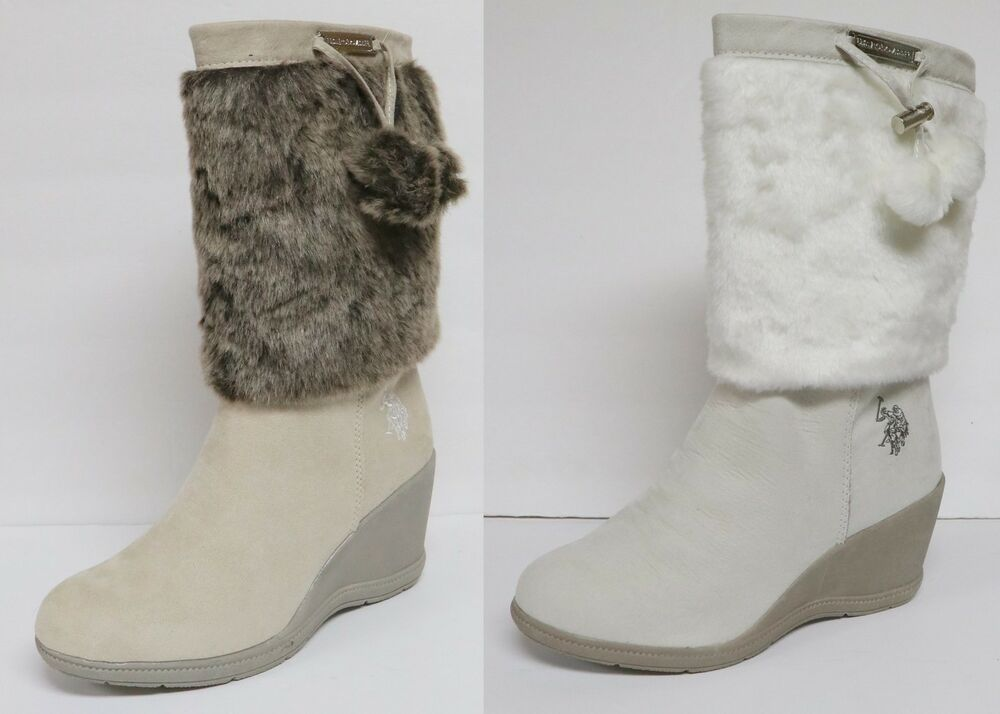 US POLO ASSN NOELLE WOMEN'S WINTER BOOTS WEDGE HEEL ROUND TOE FUR TRIM SIDE  ZIP | eBay